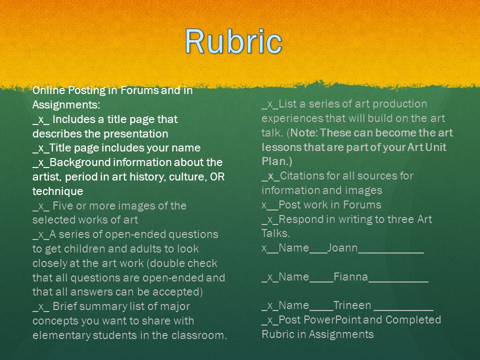 Rubric Online Posting in Forums and in Assignments:
