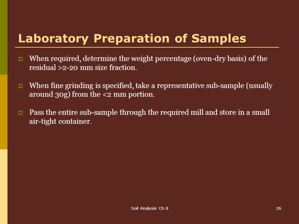 Laboratory Preparation of Samples