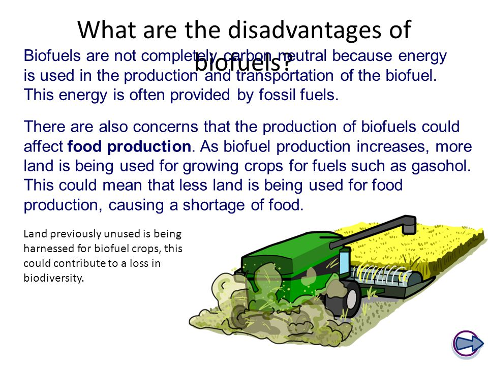 What are the disadvantages of biofuels