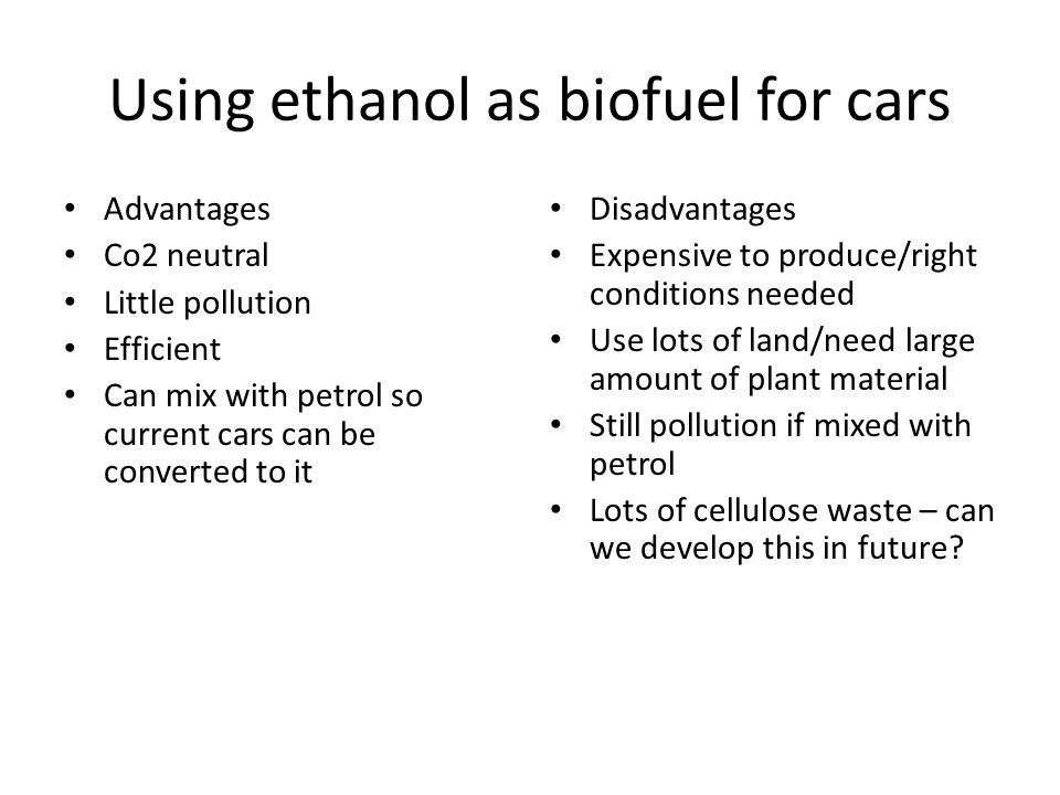 Using ethanol as biofuel for cars
