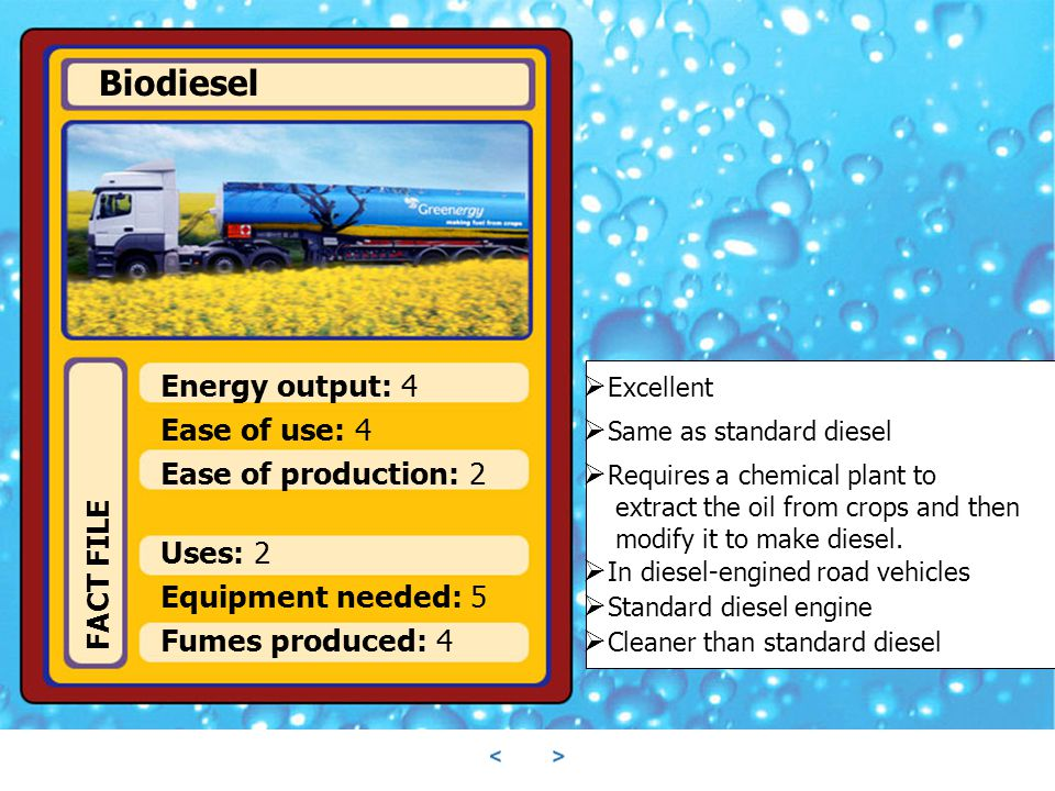 Biodiesel Energy output: 4 Excellent Ease of use: 4