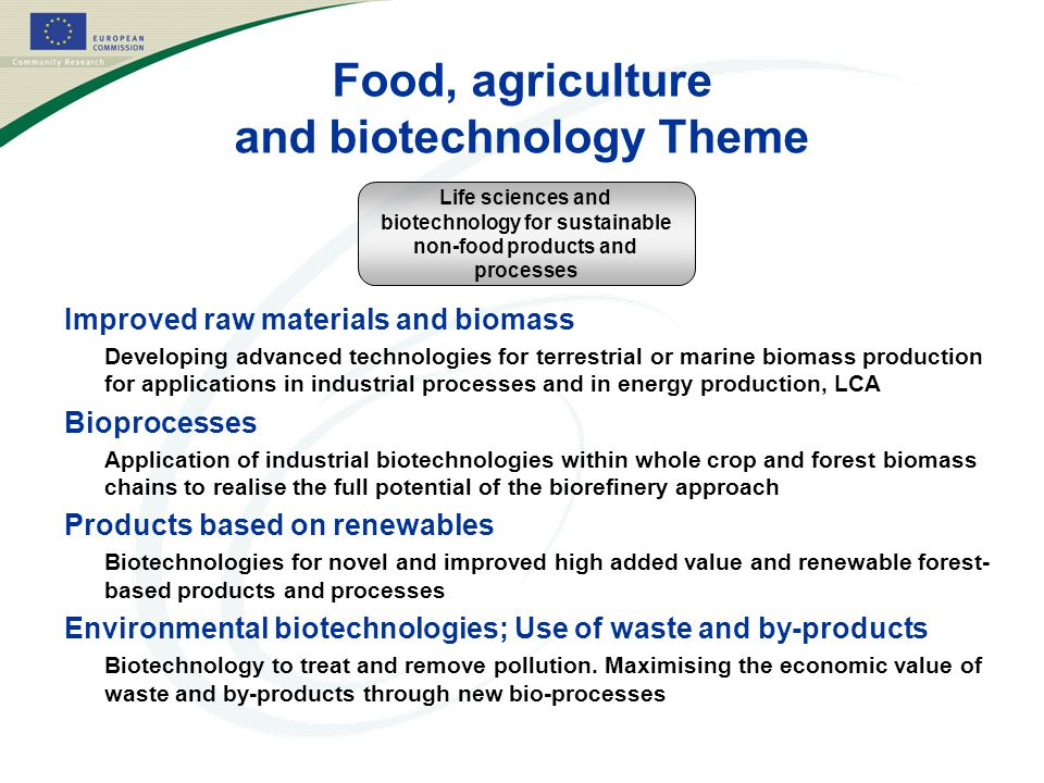 Food, agriculture and biotechnology Theme