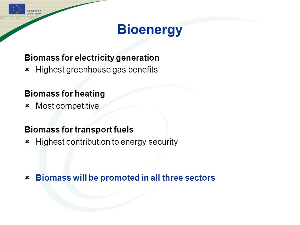 Bioenergy Biomass for electricity generation