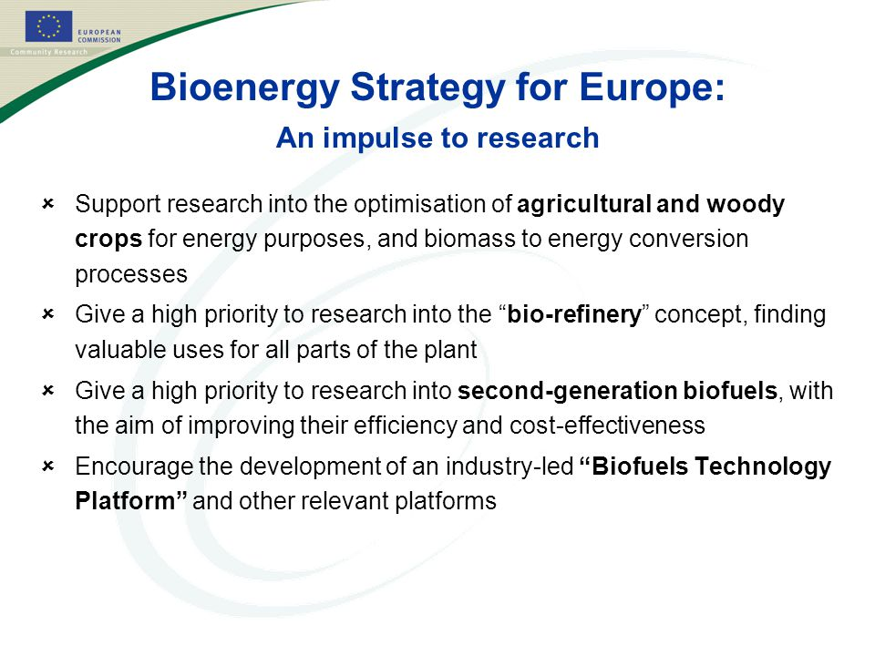 Bioenergy Strategy for Europe: An impulse to research