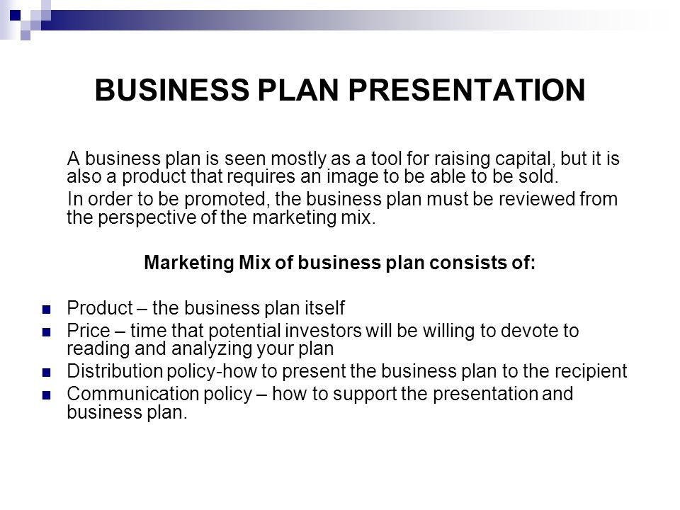 how to present a business plan in class