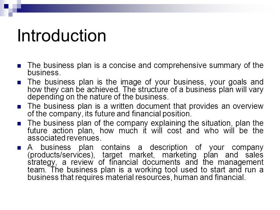 nature of a business plan
