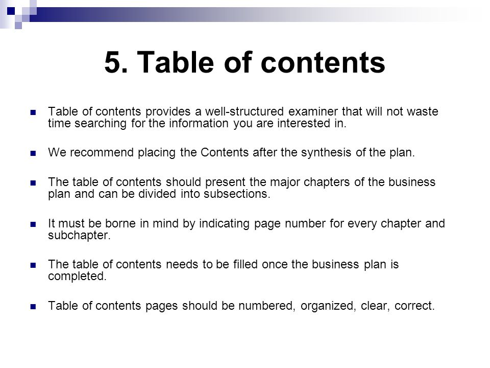 table of contents business plan