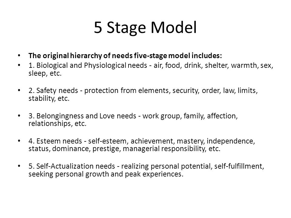 5 Stage Model The original hierarchy of needs five-stage model includes: