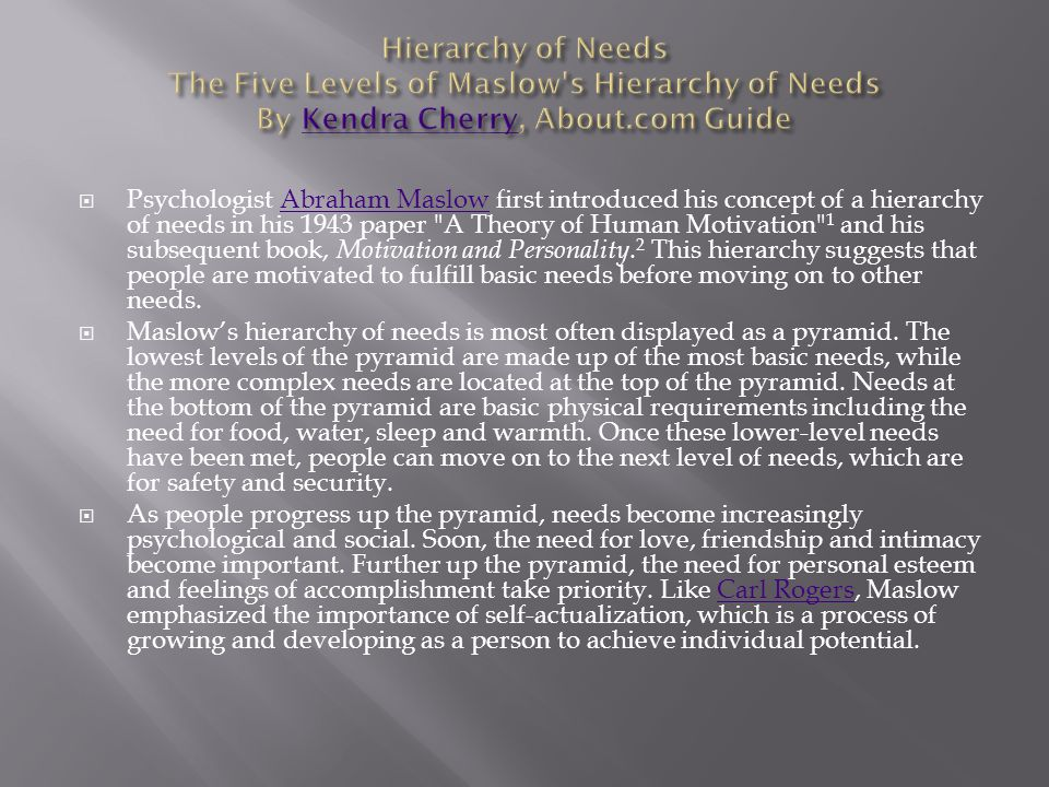 Hierarchy of Needs The Five Levels of Maslow s Hierarchy of Needs By Kendra Cherry, About.com Guide