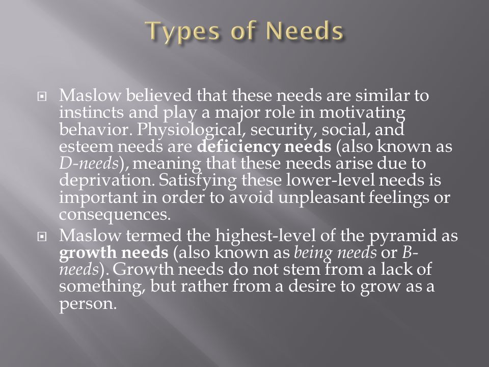 Types of Needs