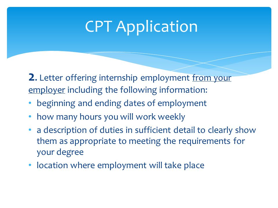 letter offering internship employment from your employer including the following information