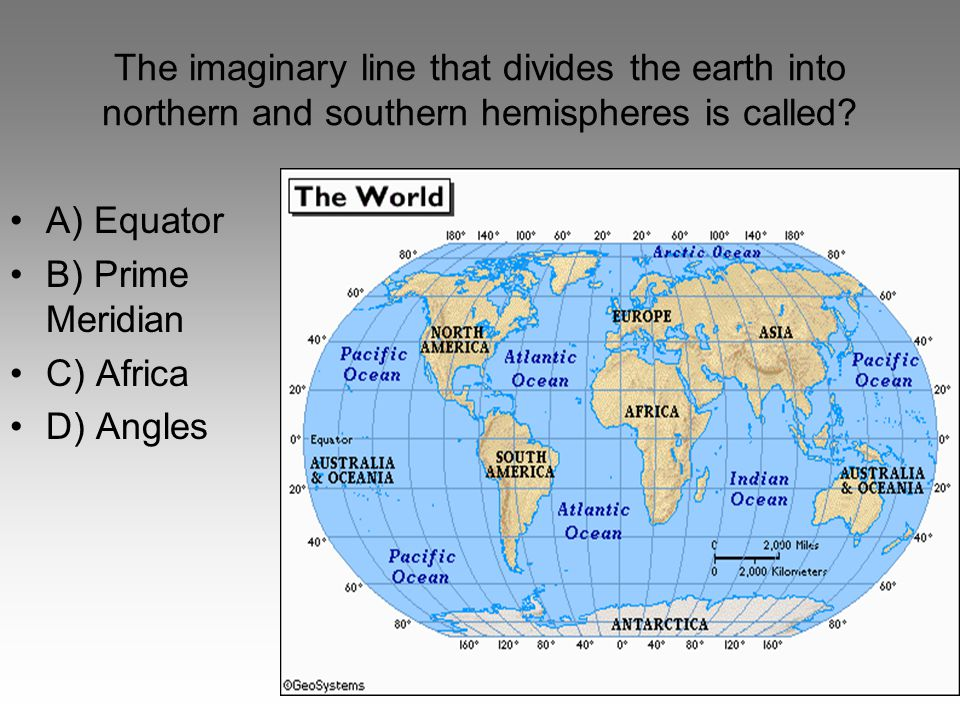 The imaginary line that divides the earth into northern and southern hemispheres is called