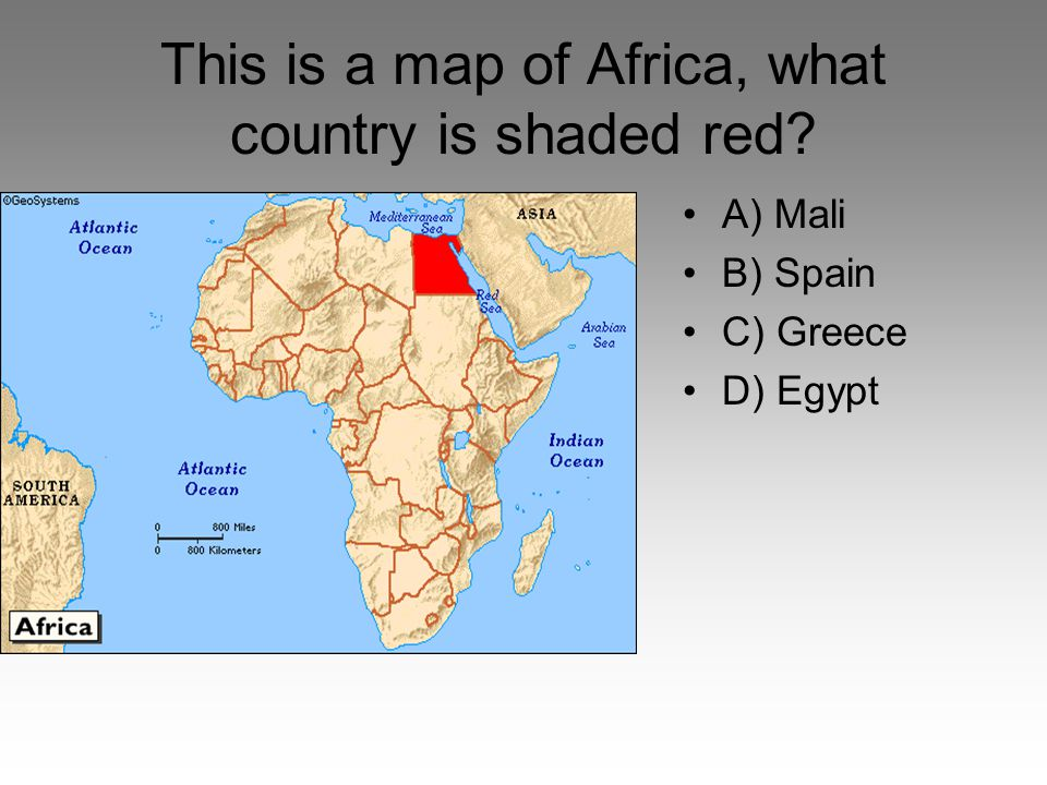 This is a map of Africa, what country is shaded red