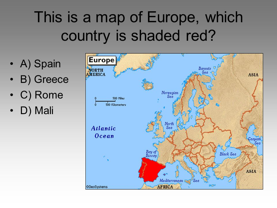 This is a map of Europe, which country is shaded red