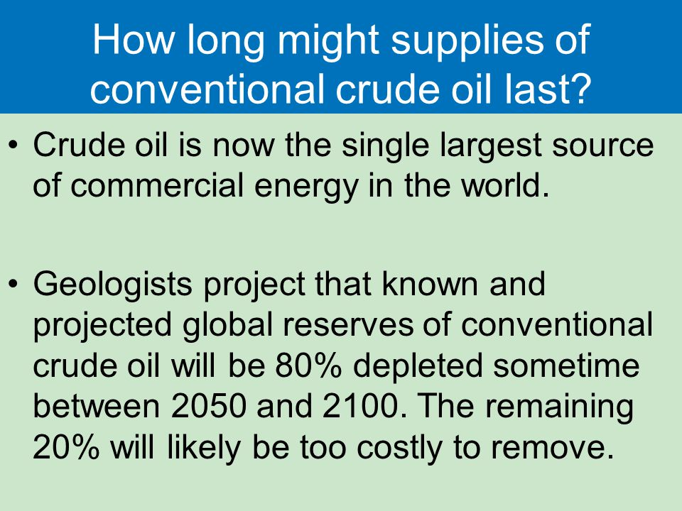 How long might supplies of conventional crude oil last