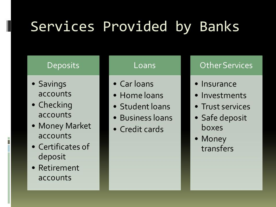 what are the services provided by banks