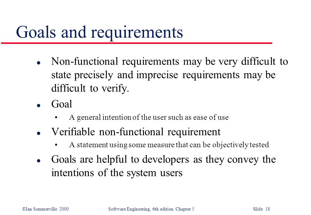 Goals and requirements