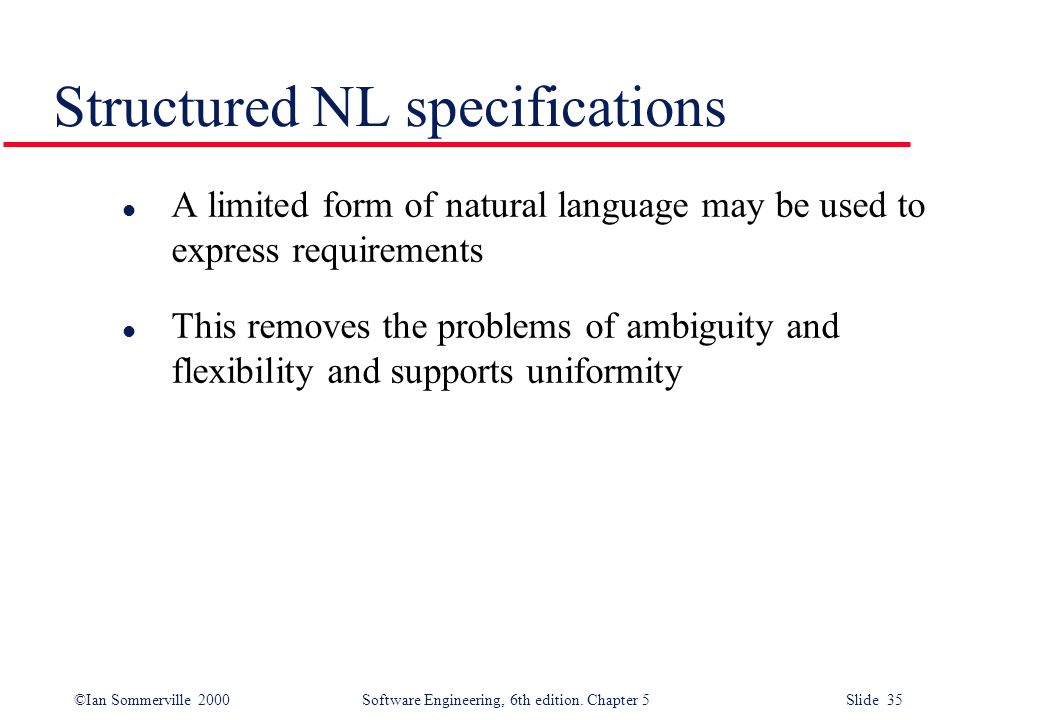 Structured NL specifications