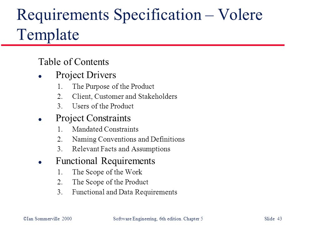 Requirements Specification – Volere Template