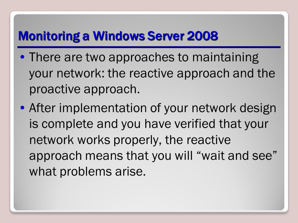 Monitoring a Windows Server 2008