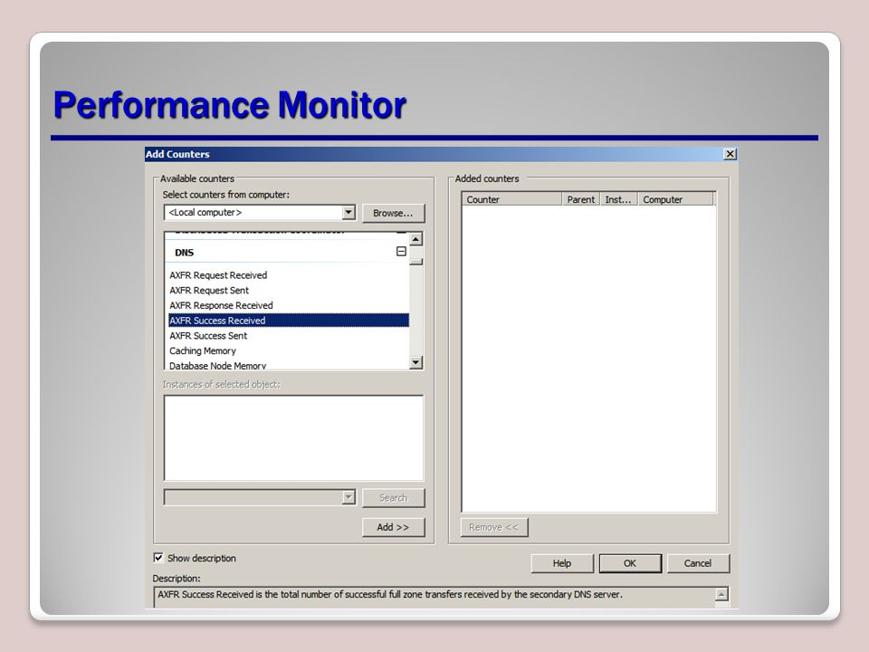 Performance Monitor Demonstrate how to use Performance Monitor.