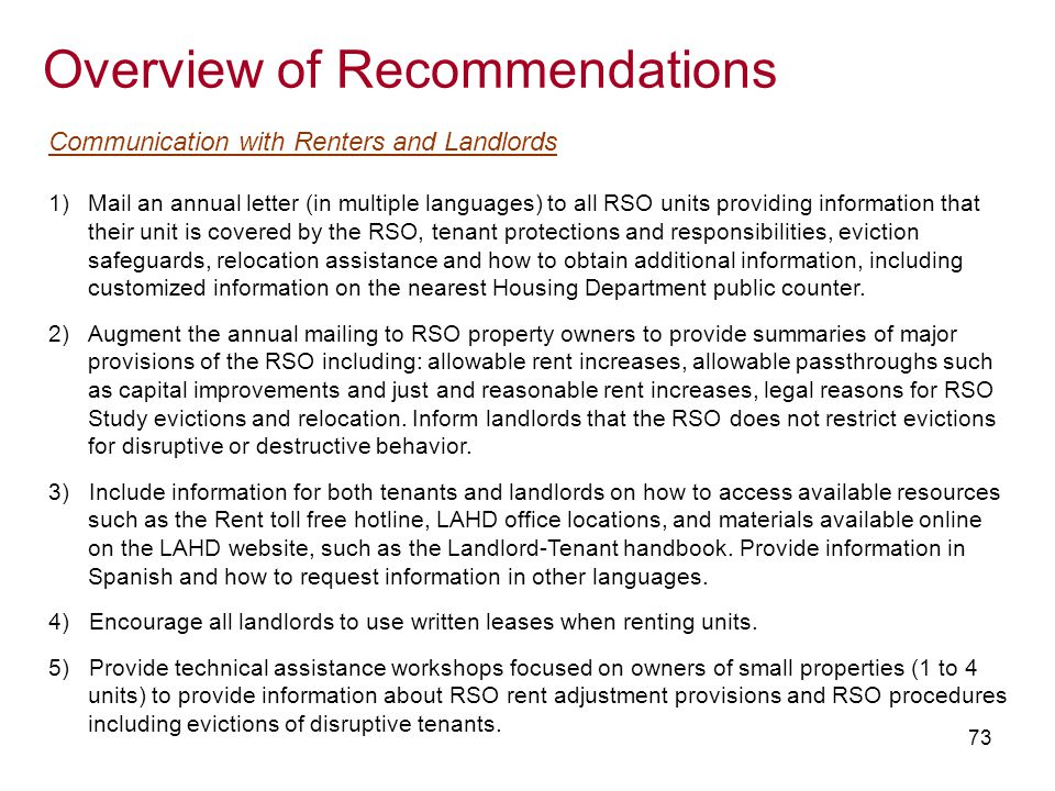 73 overview of recommendations