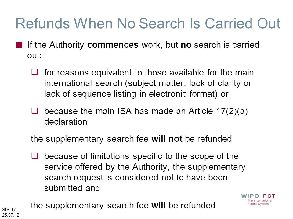 Refunds When No Search Is Carried Out