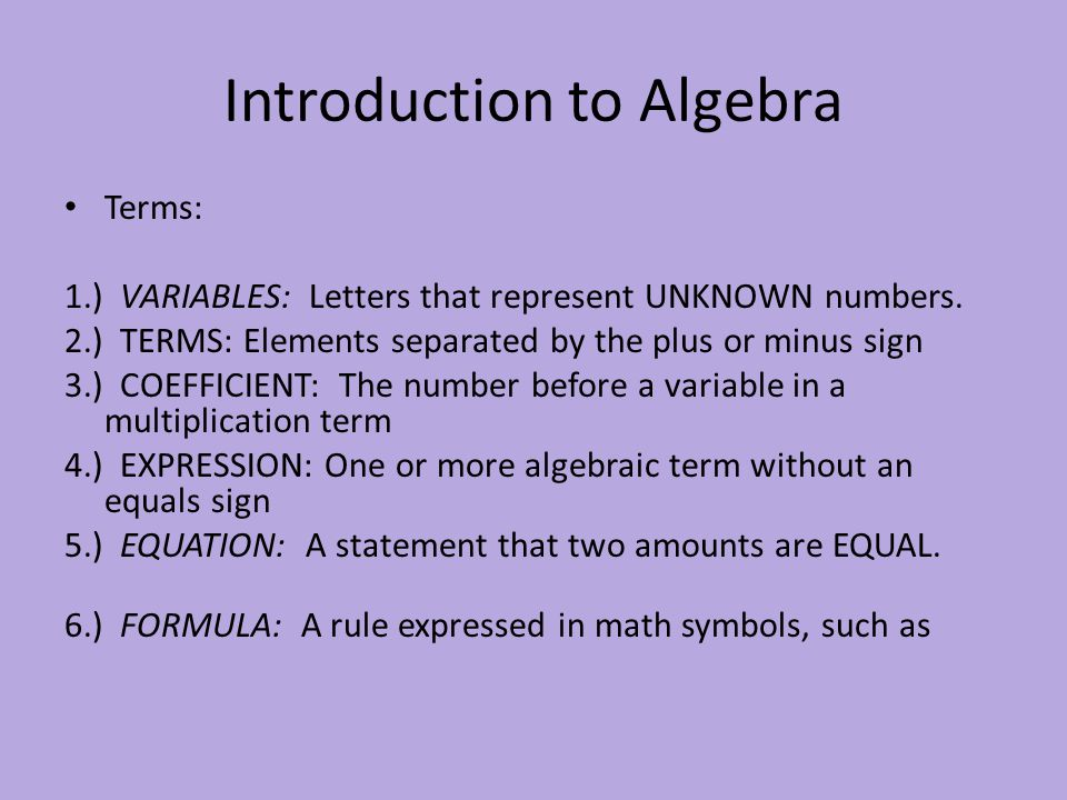Introduction To Algebra Ppt Download