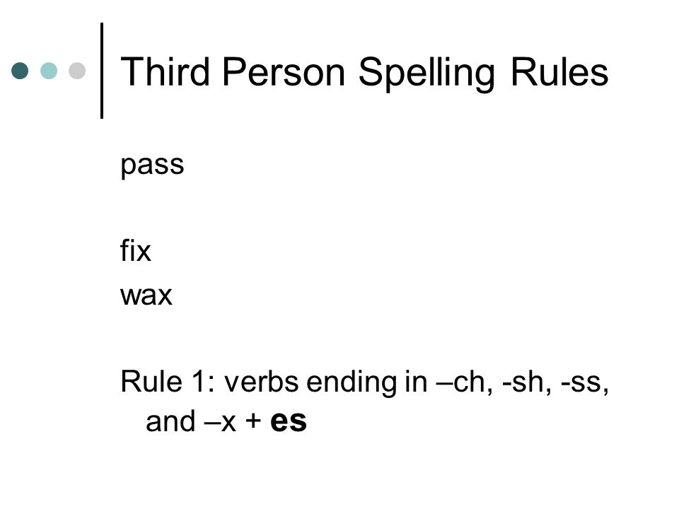 Third Person Spelling Rules
