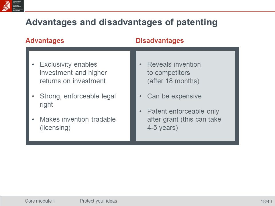 advantages and disadvantages of patents