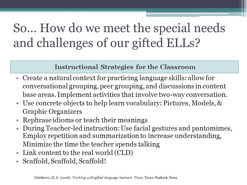 Professional Development Gifted English Language Learners Ppt