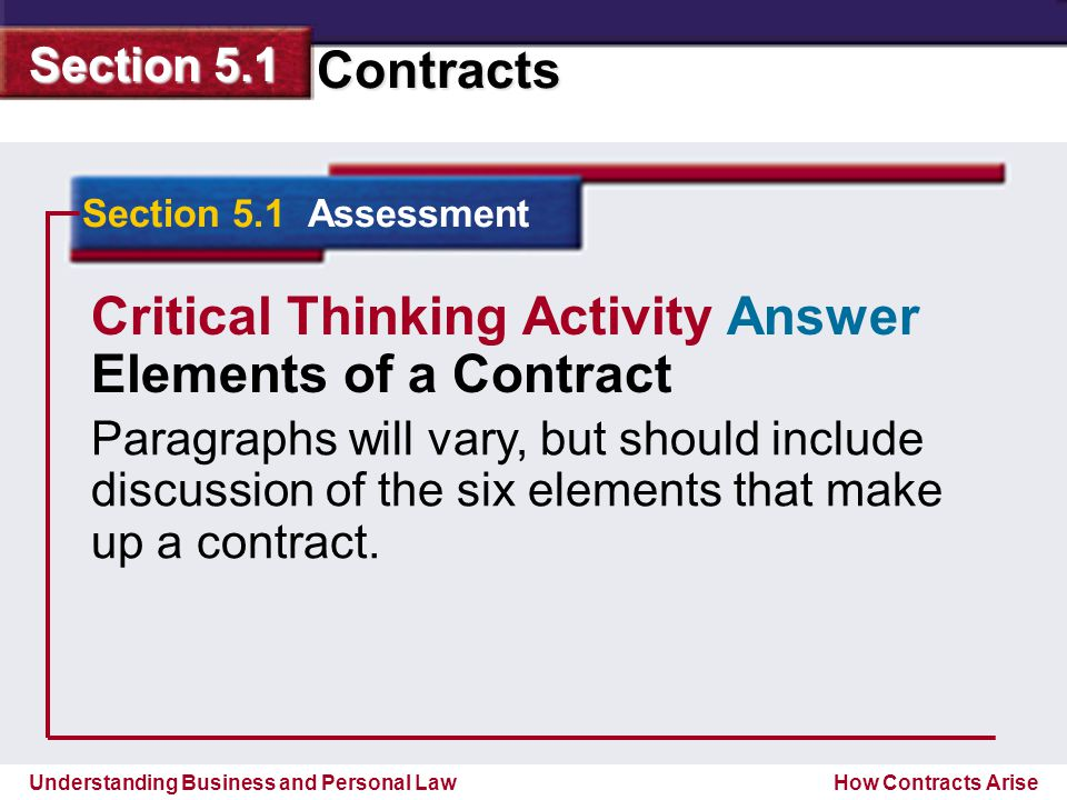 Critical Thinking Activity Answer Elements Of A Contract