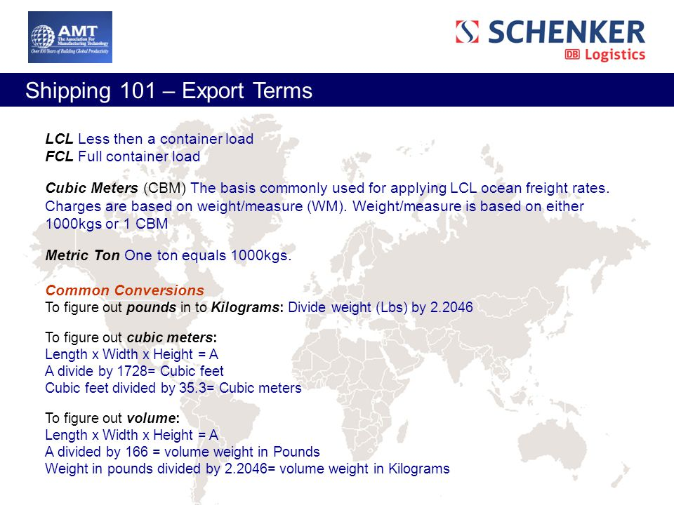 Shipping Webinar Presented by AMT & Schenker, Inc  - ppt
