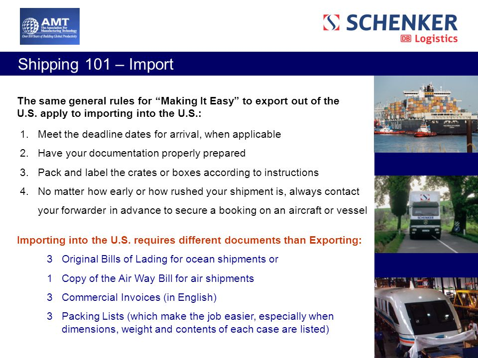Shipping Webinar Presented by AMT & Schenker, Inc  - ppt video