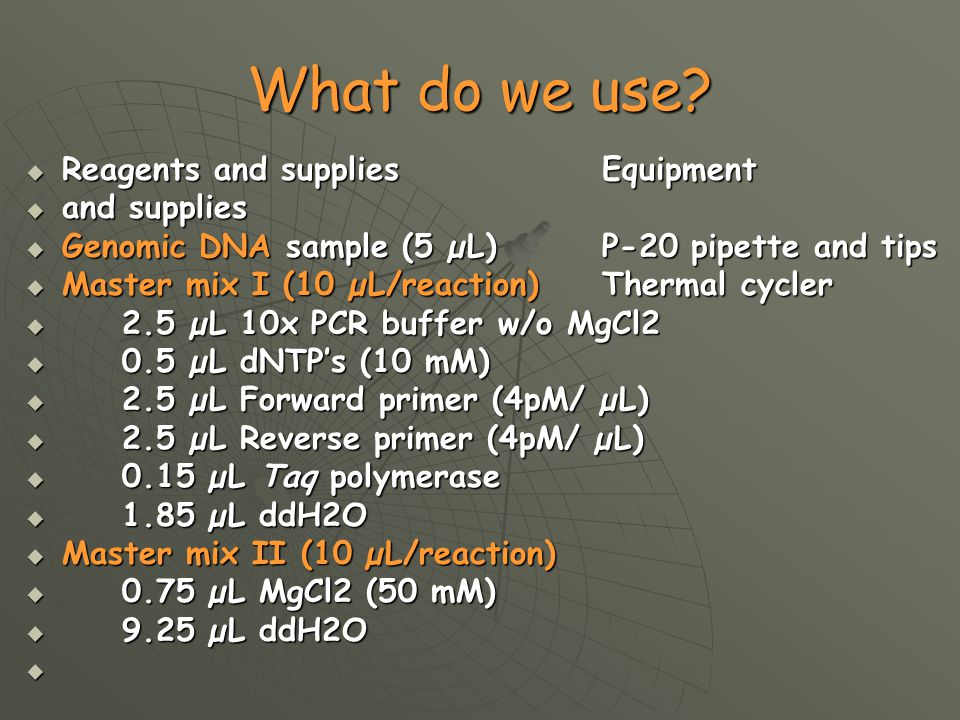 What do we use Reagents and supplies Equipment and supplies