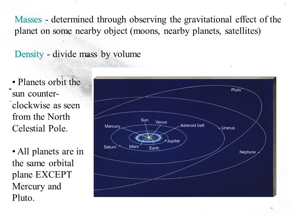 Masses - determined through observing the gravitational effect of the planet on some nearby object (moons, nearby planets, satellites)