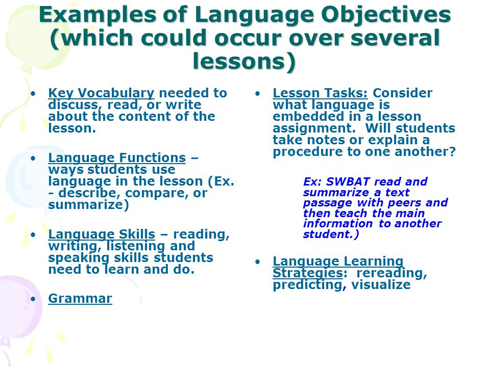 Examples of Language Objectives (which could occur over several lessons)
