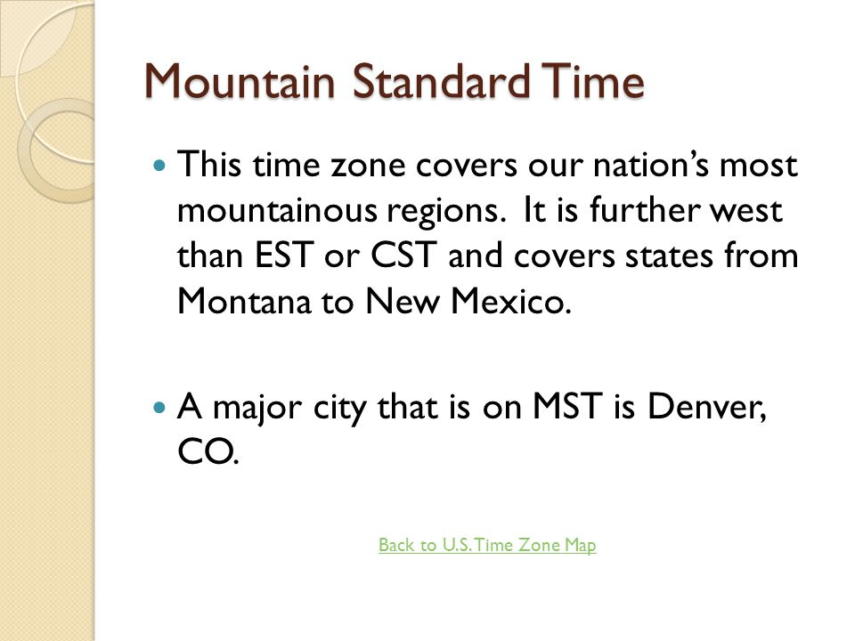 Mountain Standard Time Zone Map.Action Buttons These Will Be On The Bottom Of Your Pages Ppt