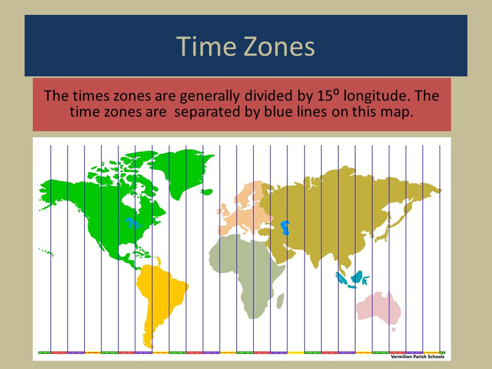 Time Zones The times zones are generally divided by 15⁰ longitude.