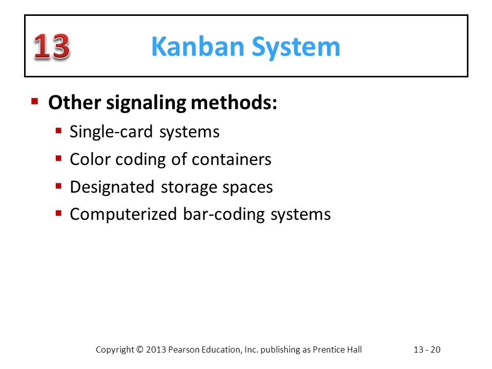 Kanban System Other signaling methods: Single-card systems