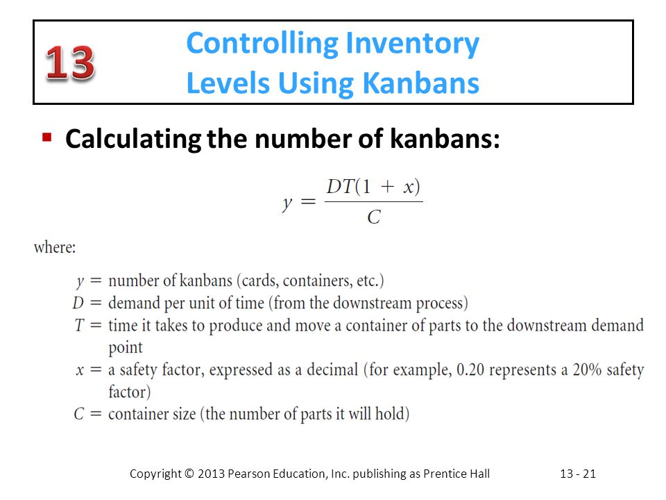 Controlling Inventory Levels Using Kanbans