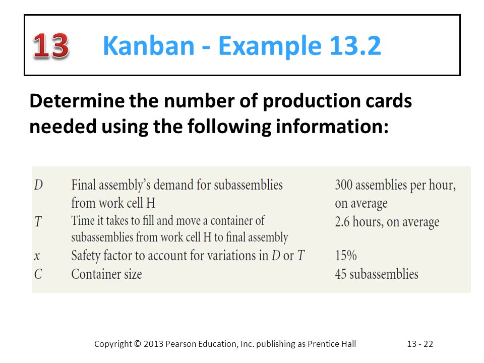 Kanban - Example 13.2 Determine the number of production cards needed using the following information: