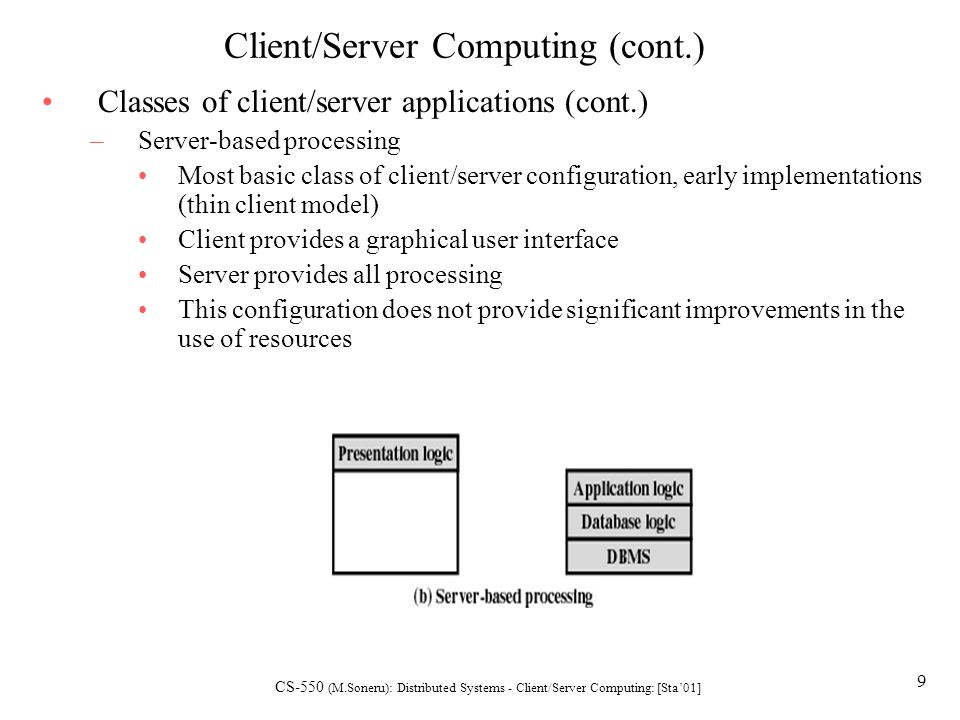 the purpose of client server computing The purpose of thin client is to provide low-cost computing for masses special purpose thin clients special purpose thin clients, might not fit into the exact definition of server-based computing, however, these are the perfect fit for the application.