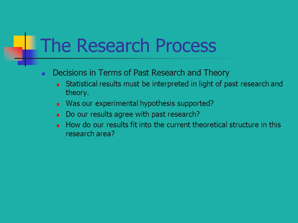 The Research Process Decisions in Terms of Past Research and Theory