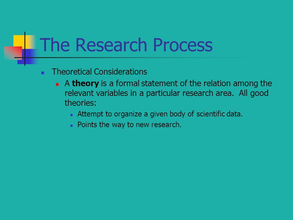 The Research Process Theoretical Considerations