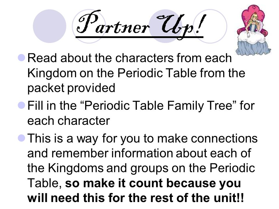 partner up read about the characters from each kingdom on the periodic table from the