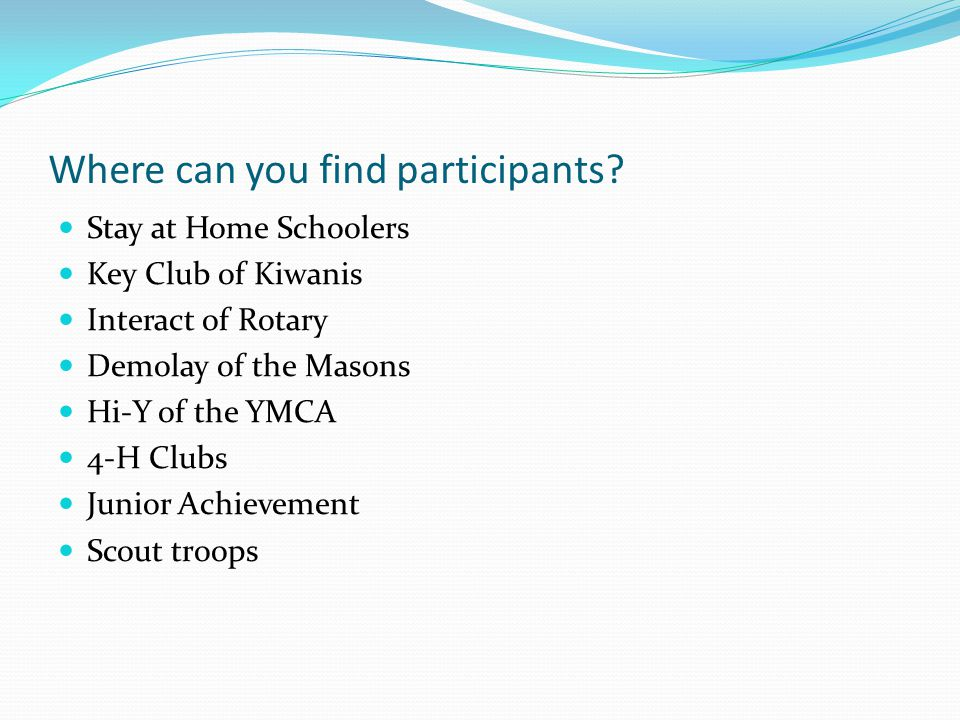 Where can you find participants
