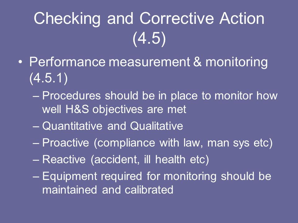 Checking and Corrective Action (4.5)