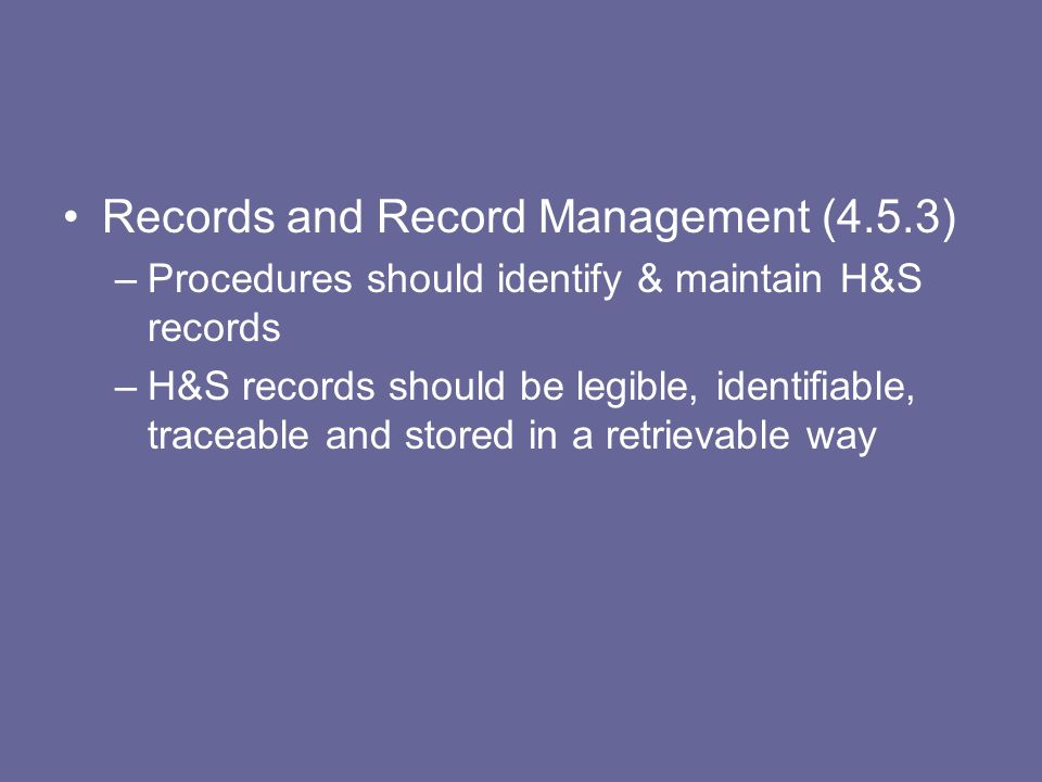 Records and Record Management (4.5.3)