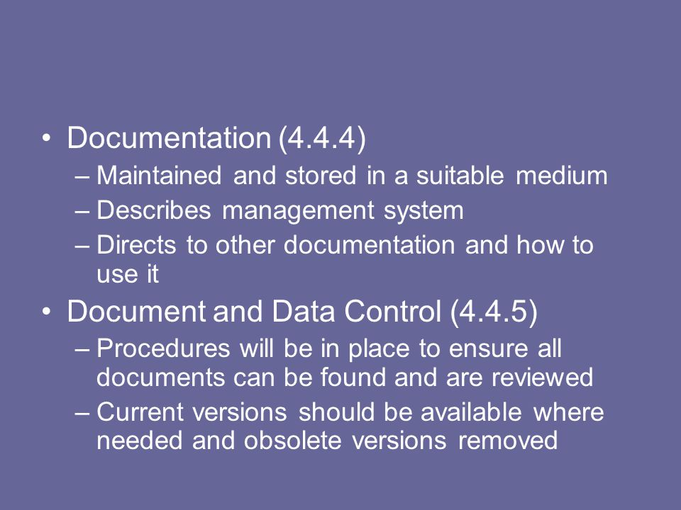Document and Data Control (4.4.5)